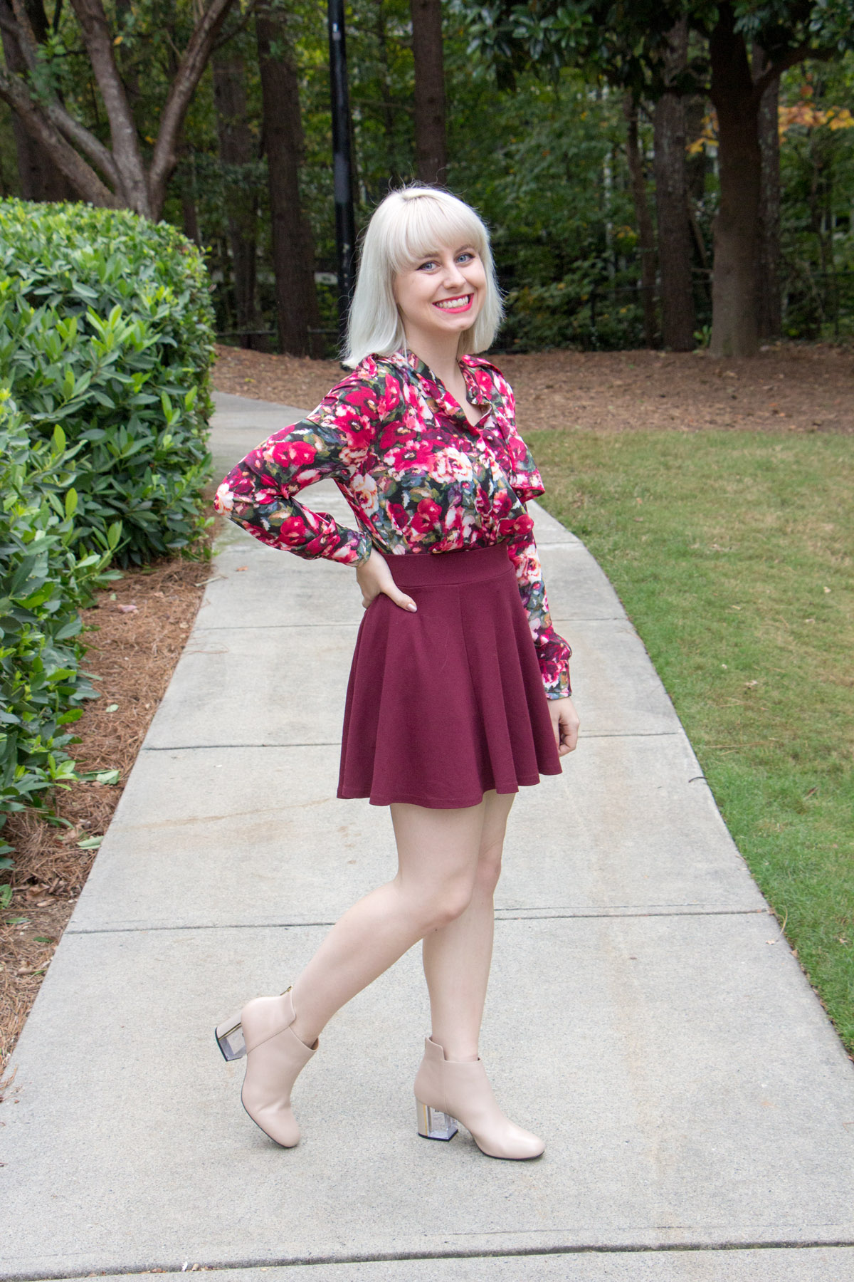 Maroon Skater Skirt, Lucite Heel Nude Boots, Floral Blouse