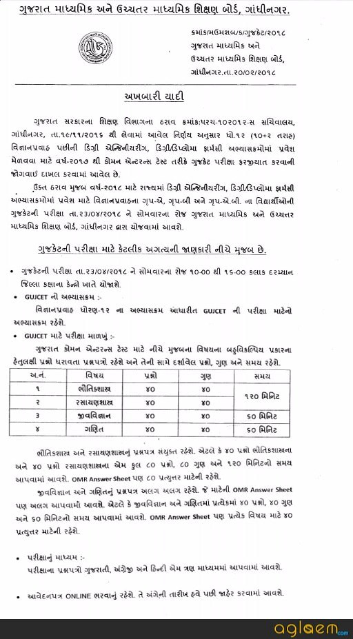 GUJCET 2018 Exam Date Announced: GSEB