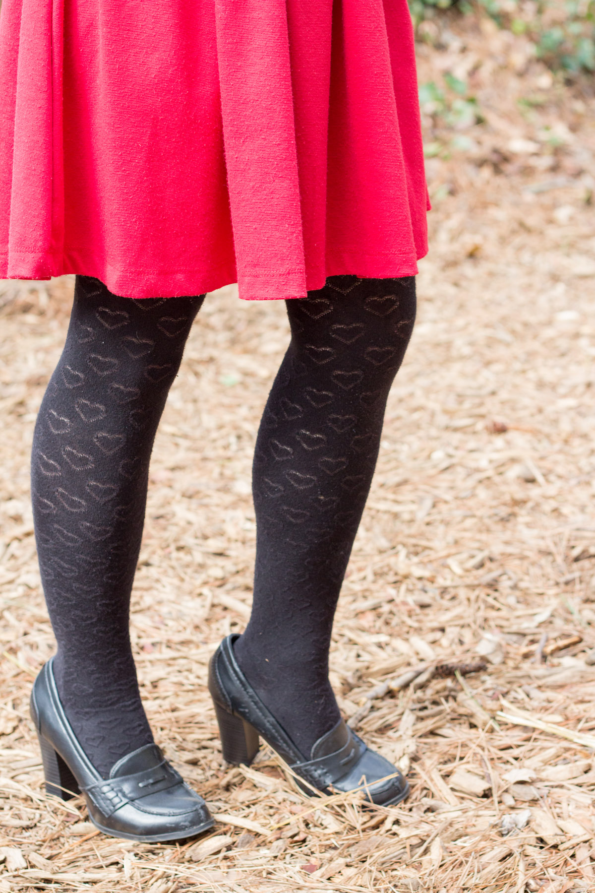 Heart Print Sweater Tights from Forever 21 with Black Loafer Heels
