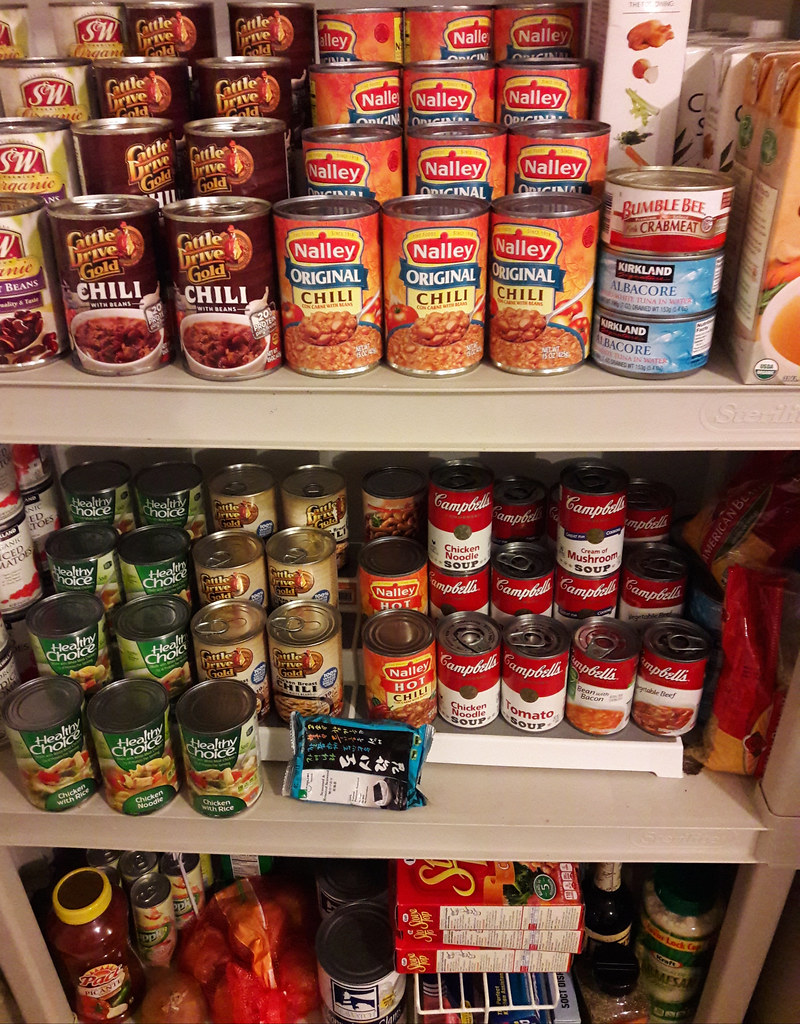 Pantry Shelves Cans And Boxes Of Food Beans Chill Soup