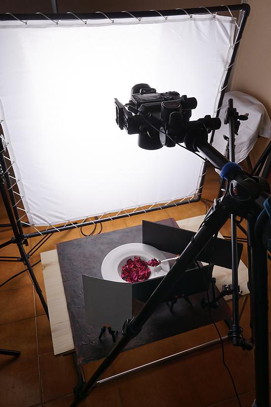 Imagen del set para la fotografía del suquet de peix