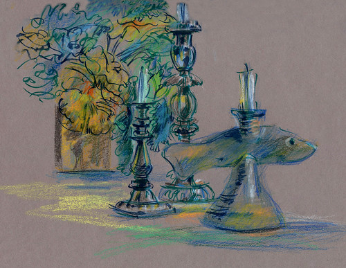 Fish and candles, still life at friends' house, toned paper, crayons, brush pens. | by Laura Frankstone