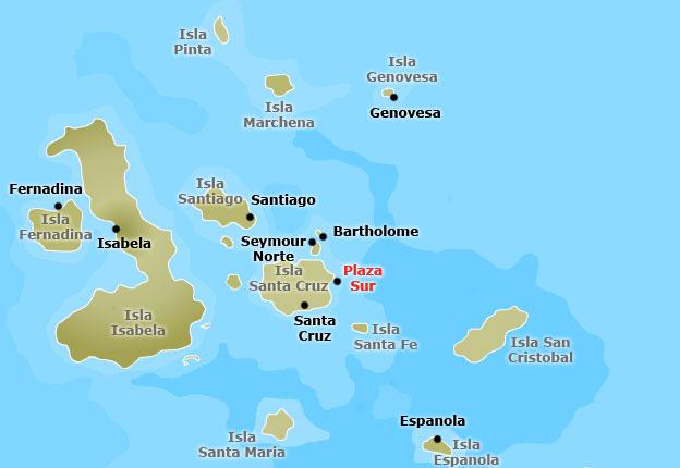 Mapa de Isla Plaza Sur en el archipiélago de las Galápagos