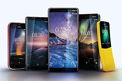 The five new phones introduced by Nokia: Nokia 8 Sirocco, Nokia 7 Plus, new Nokia 6, Nokia 1, reloaded Nokia 8100 with 4G.