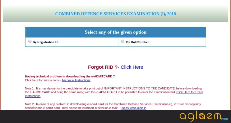 UPSC CDS (1) 2018 Admit Card   Download Here
