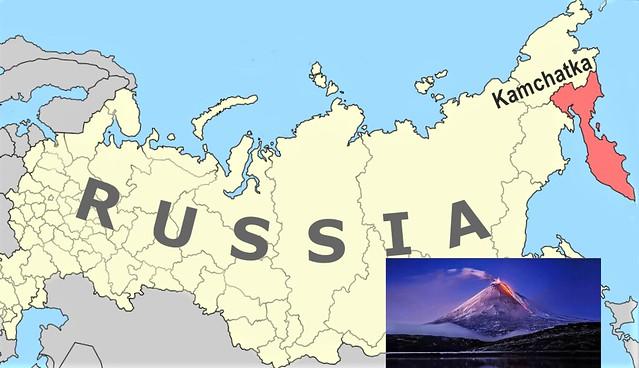 Mapa de situación de la Península de Kamchatka