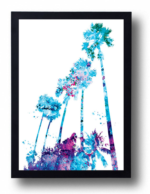 Map Of Watercolor Florida.Miami Landscape Watercolor Print Miami Palms Painting Sun Flickr