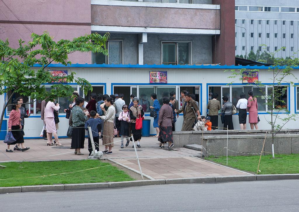 North North Korean People Buying Food In A Street Restaurant Pyongan Province Pyongyang North
