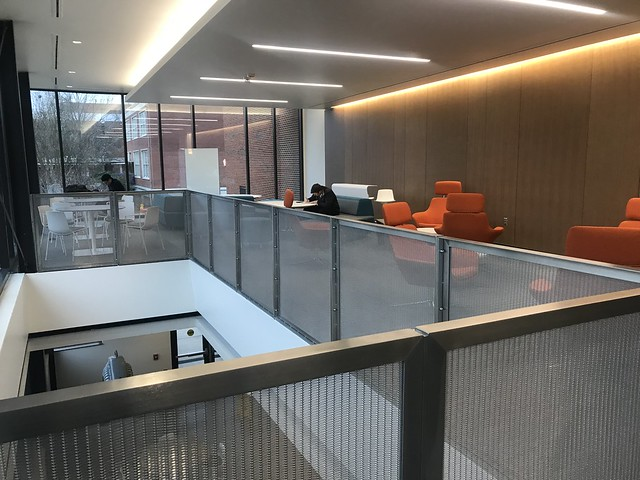 The renovated lobby of Broun Hall is filled with natural light from the new front entrance. Broun is one of a number of projects completed this year or to be completed this year.