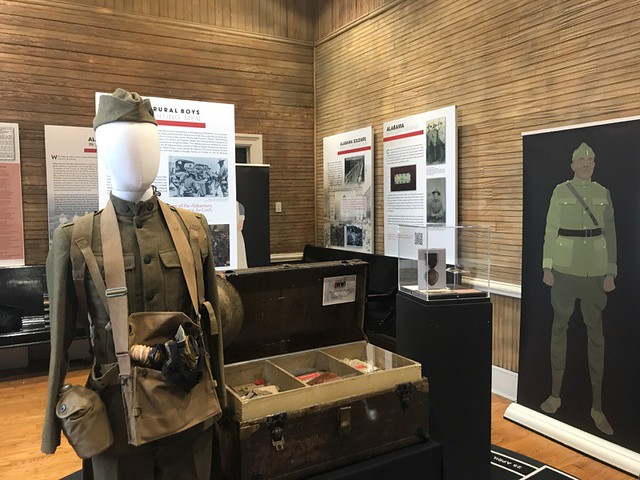 A scene from the WWI display shows a soldier's uniform.