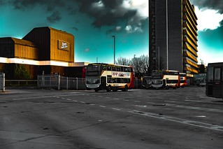 This is my attempt to try and take a photograph and edit it to look like it is from the popular computer game Grand Theft Auto. This picture was taken at Preston bus station during the day. Please give me some feedback on your thoughts | by dave.connors1985