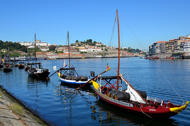 Rabelo boats on the River Douro in Porto, Portugal