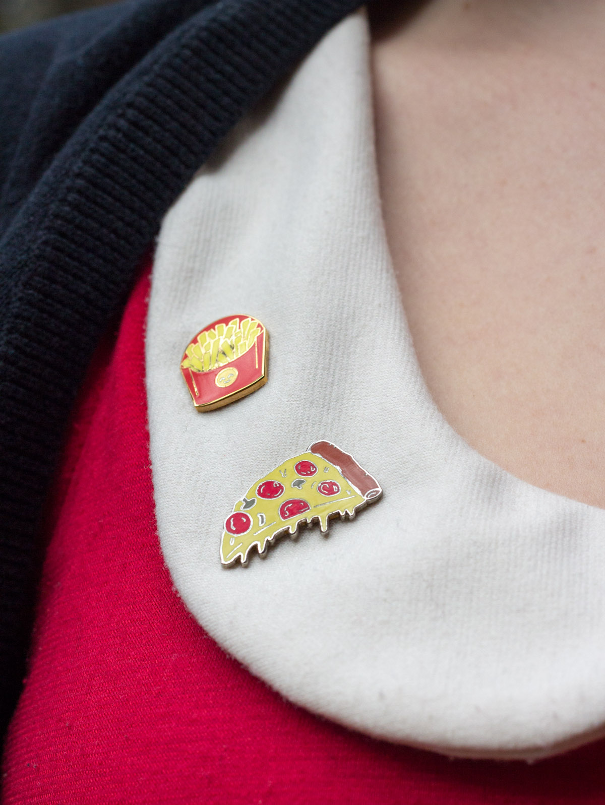 Fries and Pizza Pins on a White Collar
