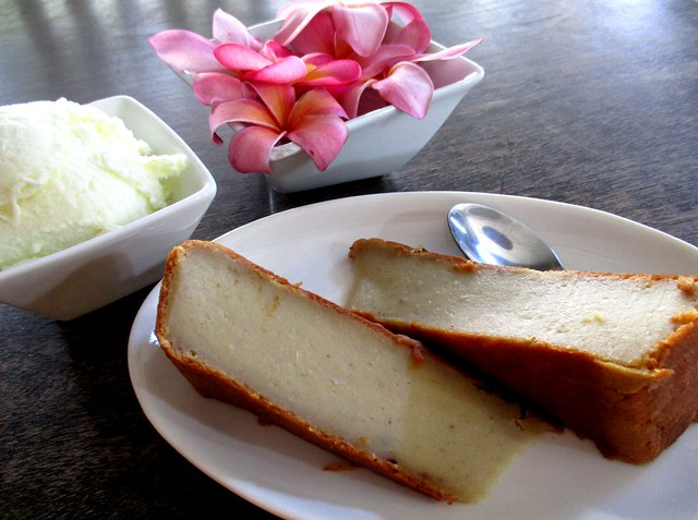 Payung durian cake with ice cream