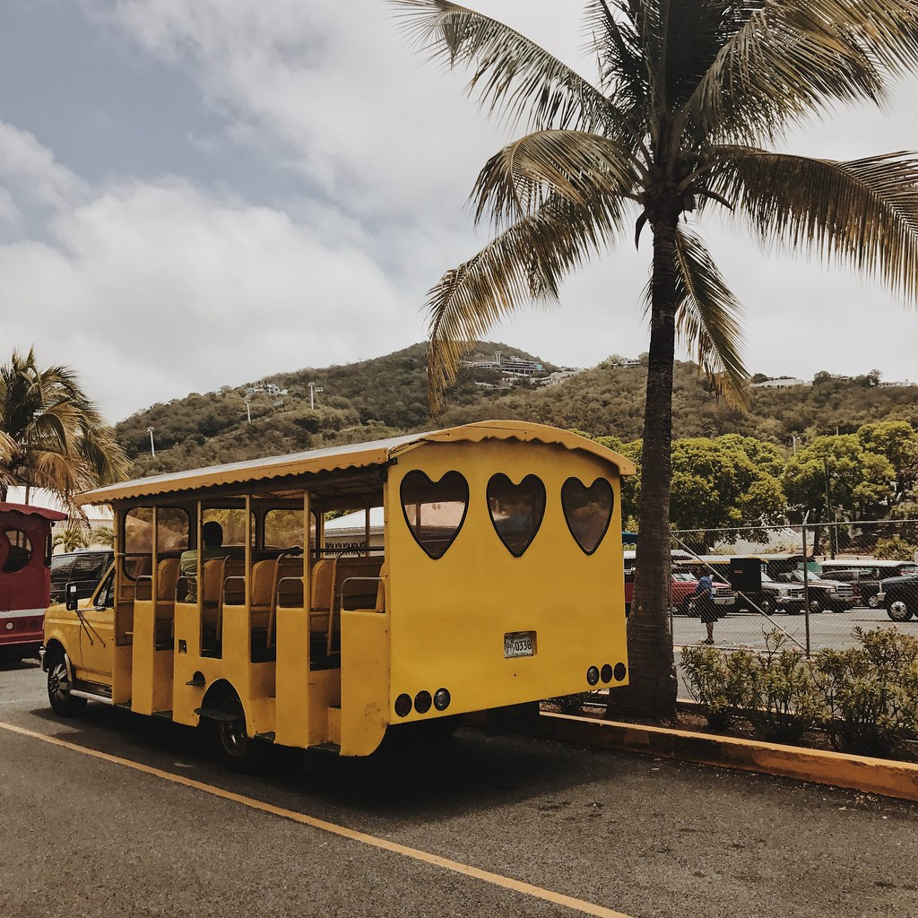 yellow bus in St Thomas