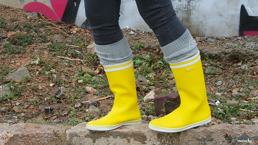 botas de agua Aigle en amarillo