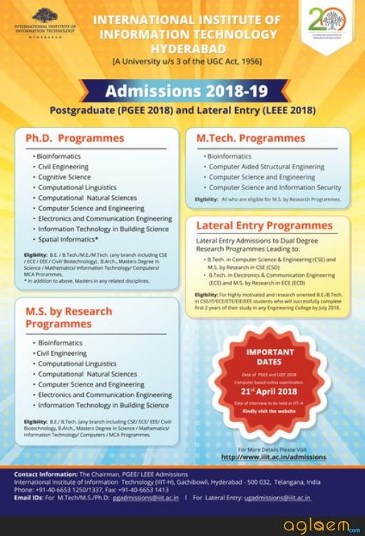 IIIT Hyderabad PGEE 2018 for Postgraduate Admissions