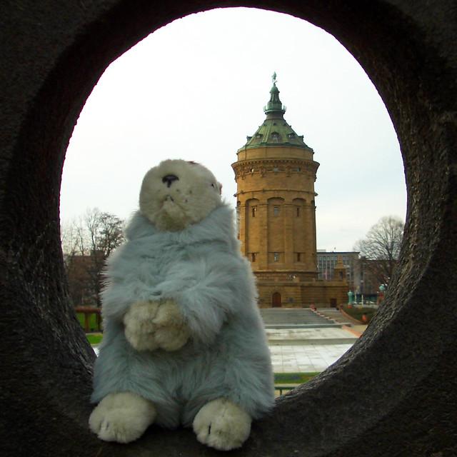 Karla Kunstwadl am Mannheimer Wasserturm ... Foto: Brigitte Stolle