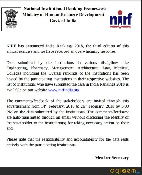 NIRF Ranking 2018 To Release In March, Slash Funds For Colleges That Do Not Share Data: MHRD