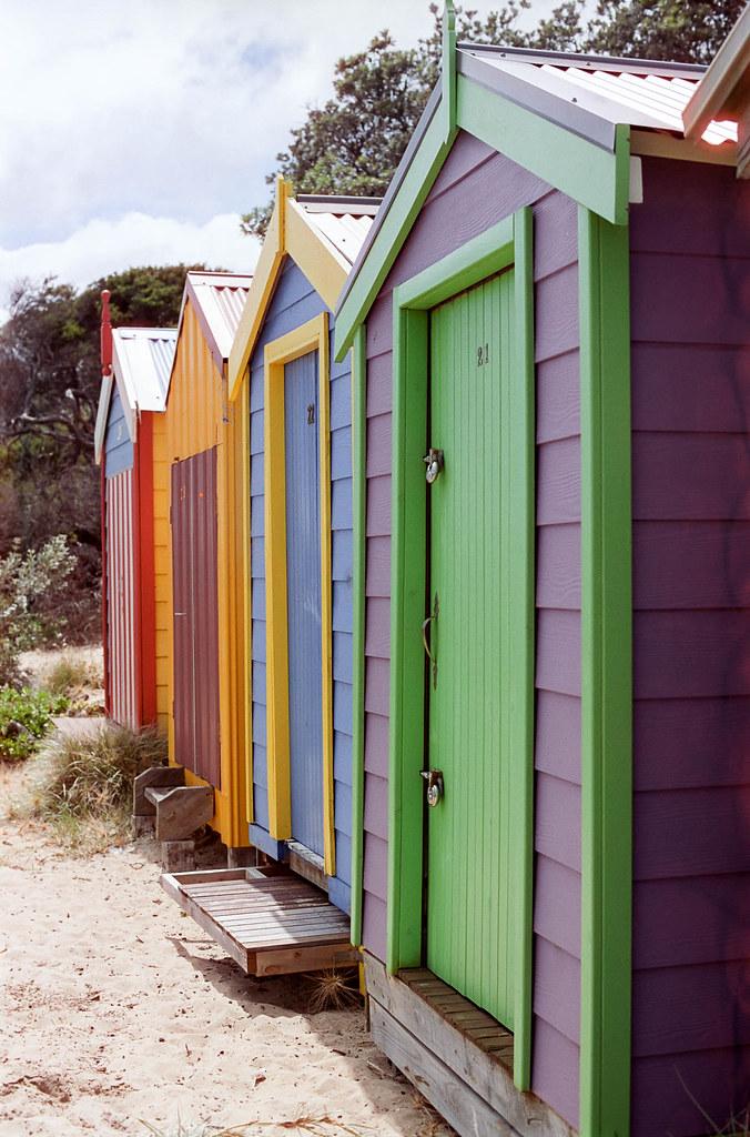 Beach Boxes | Nikon F100 Nikkor 50mm F1 4G Cinestill 50