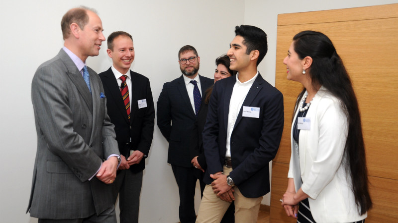 Image showing HRH The Earl of Wessex with winner of the Indian student essay competition, Namit Makhija, and colleagues from the Faculty of Humanities & Social Sciences