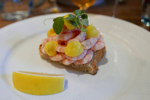 Shrimp, toast, mayonaise, lemon smørrebrød ($26) | by loustejskal