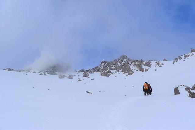 焼岳雪山登山 山頂直下