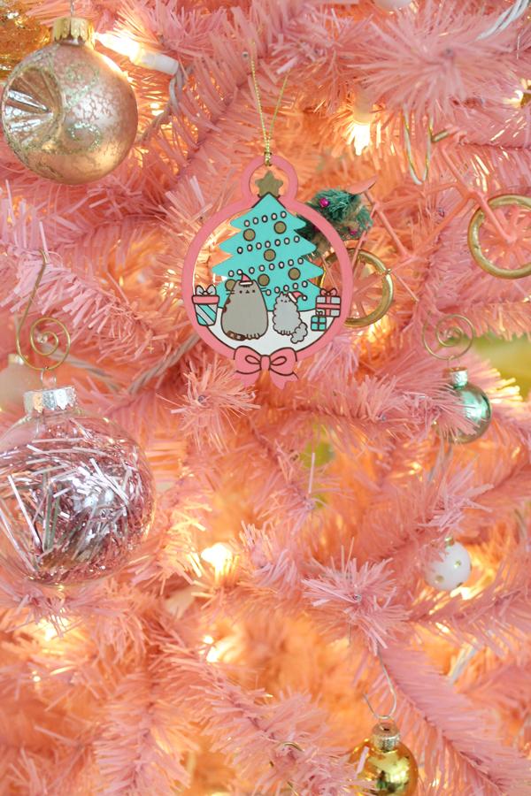 pink tree pusheen ornament