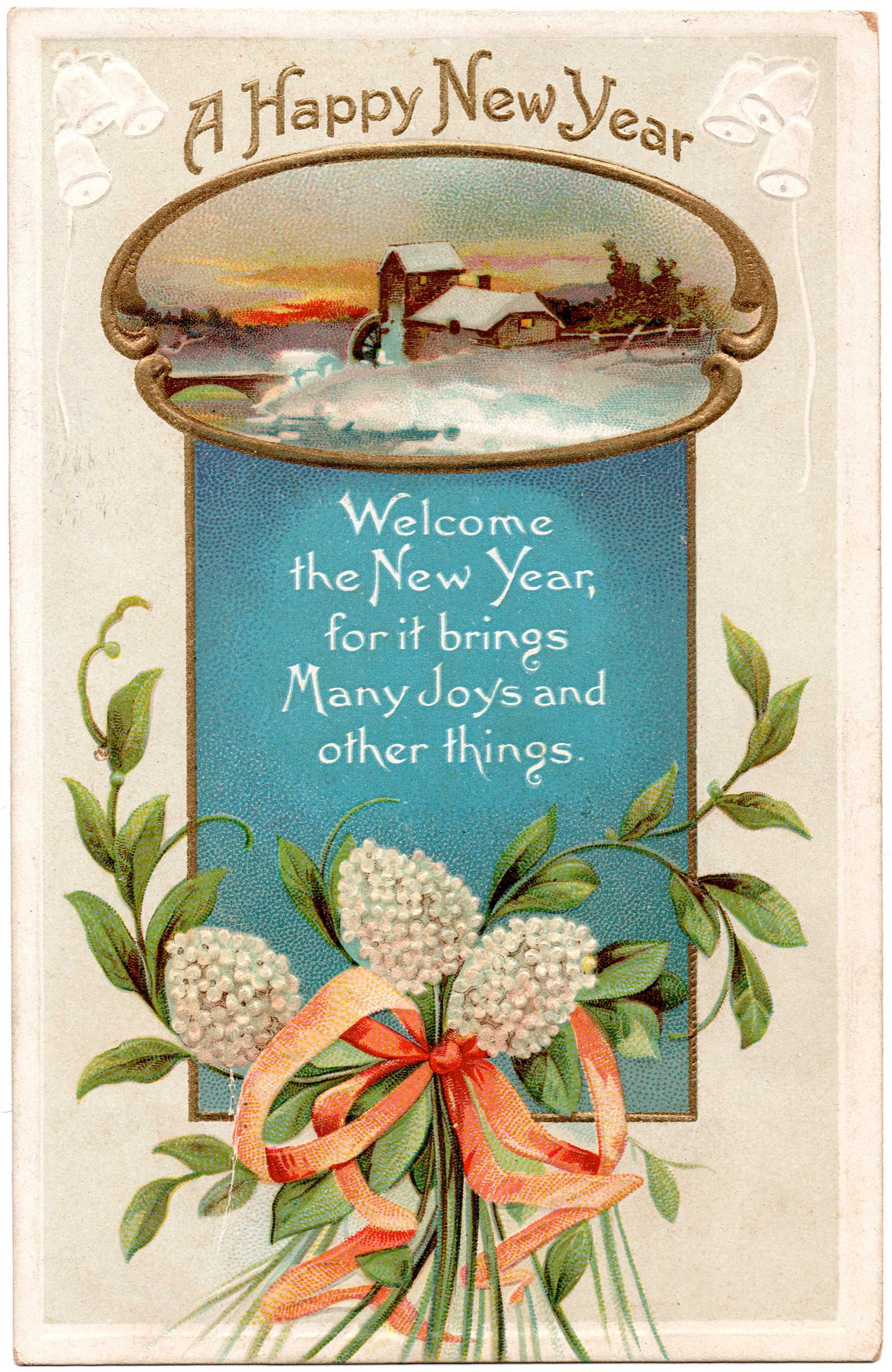 Happy New Year vintage postcard #1 via foobella.blogspot.com