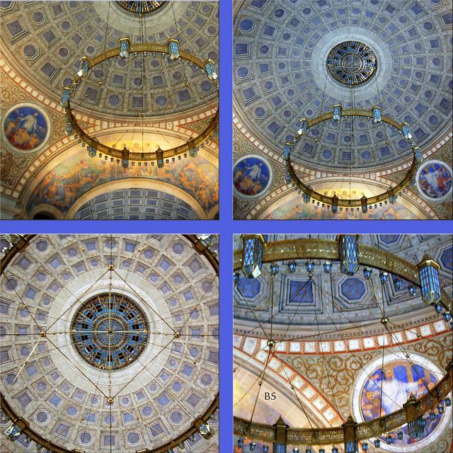 Die evangelische Christuskirche in der Mannheimer Oststadt ... Innenaufnahmen: ein hellblaues Kuppelfirmament mit Leuchter ... Fotos: Brigitte Stolle, Mannheim