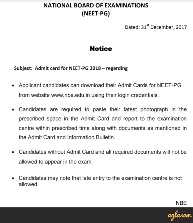 NEET PG 2018 Admit Card / Hall Ticket (nbe.edu.in) Released: Download Here