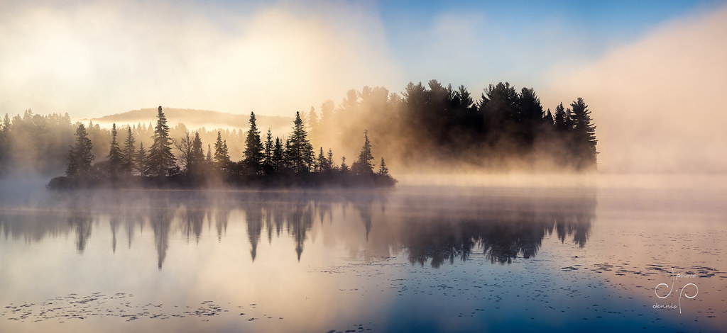 Sunrise over foggy lake | We happened to drive by this ...