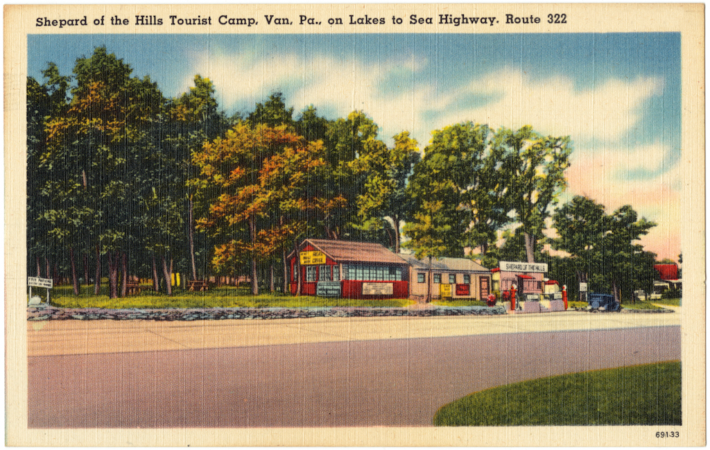 Shepard of the Hills Tourist Camp, Van, Pa., on Lakes to Sea Highway. Route 322 (vintage postcard)