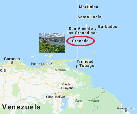 Mapa de situación de la isla de Granada (Caribe)