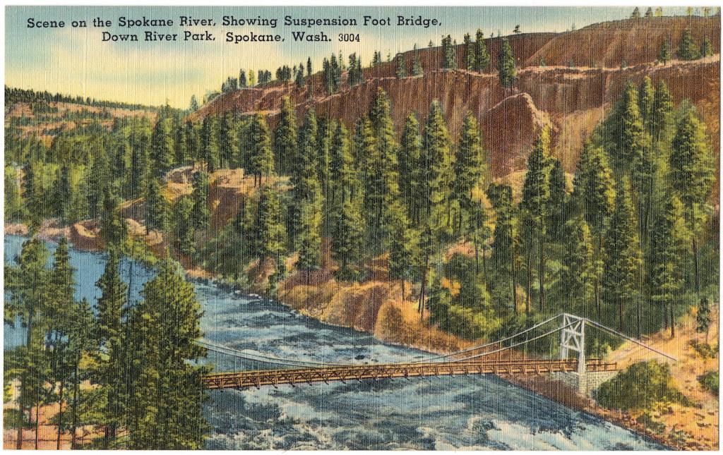 Scene on the Spokane River, showing suspension foot bridge, Down River Park, Spokane, Wash. (vintage postcard)