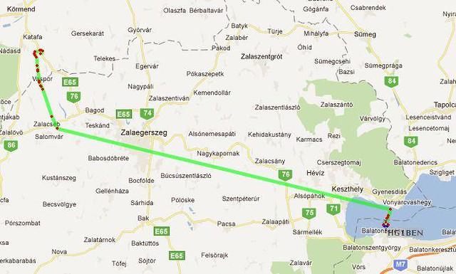 VCSE - A ballon útvonala