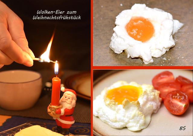 Weihnachtsfrühstück am 24. Dezember 2017: Selbst gemachte Orangenmarmelade, Wolken-Eier ... Fotos und Collagen: Brigitte Stolle