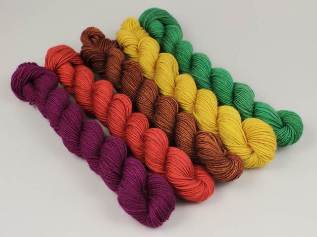 Hand-dyed sock mini skeins pure British superwash wool yarn 5 x 20g pack – 'Earthly Treasures' (plum, green, yellow, rust, chestnut)