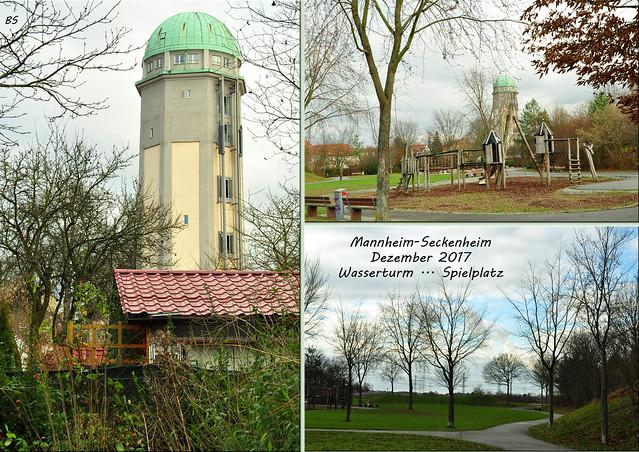 Wetter Mannheim (Seckenheim), 17. Dezember 2017 ... Wasserturm, Spielplatz ... Fotos: Brigitte Stolle