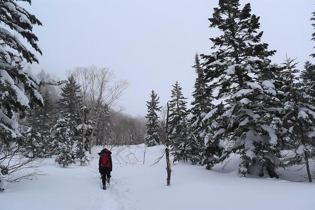 冬の焼岳 雪の登山道