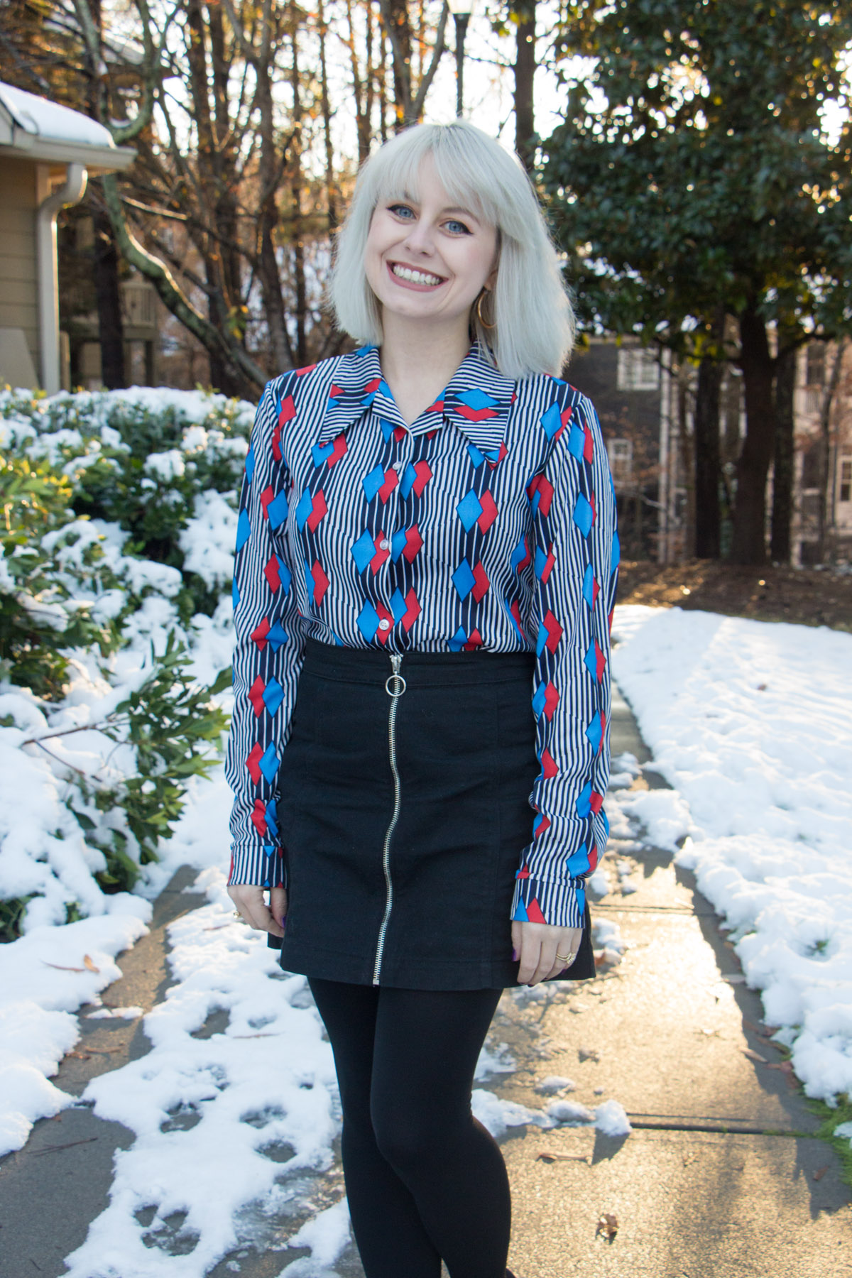 Vintage 70s wide collar button down top and black denim mini skirt