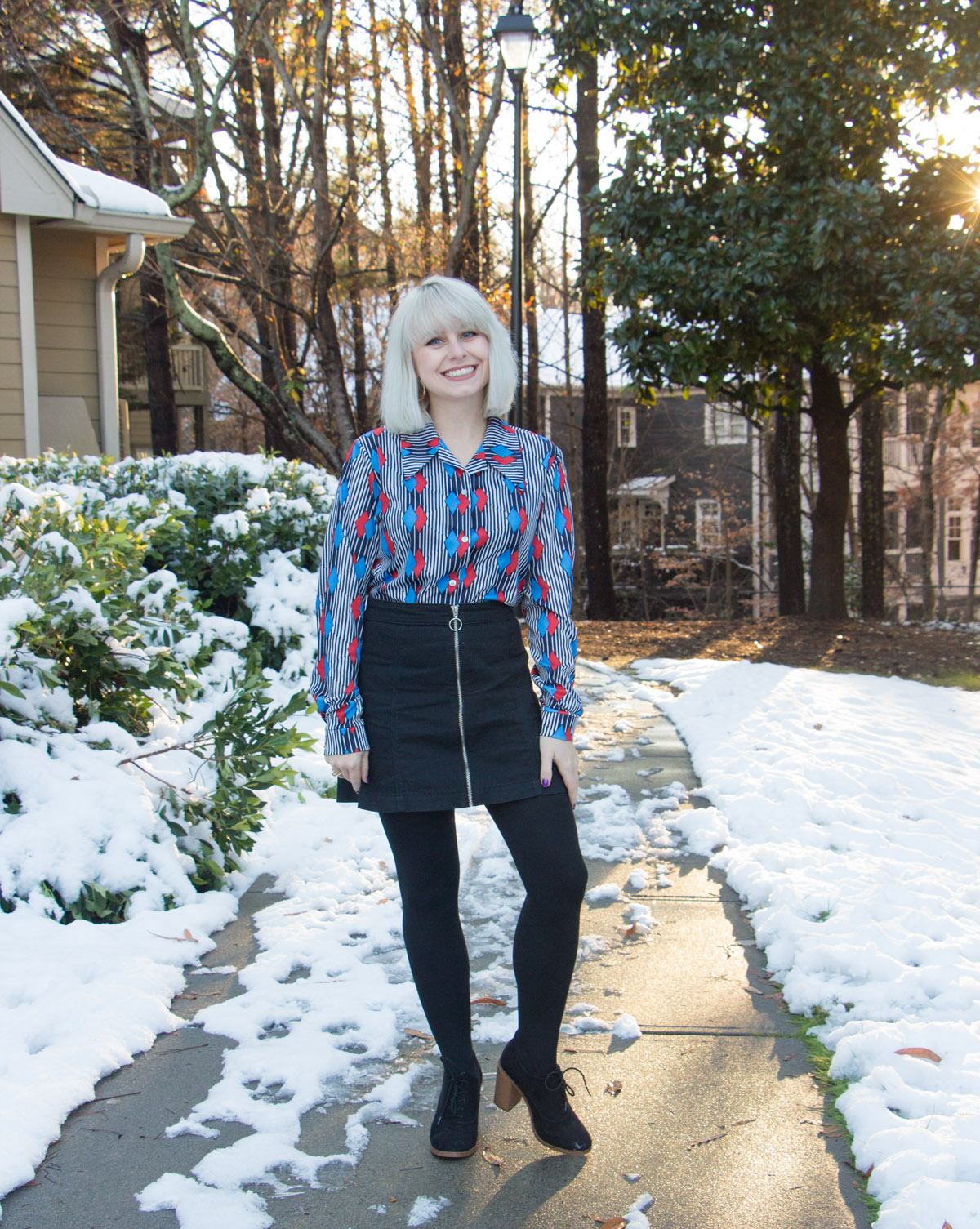 Black Mini Skirt, Fleece Lined Tights, Black Lace Up Boots, and 70s Geometric Print Shirt