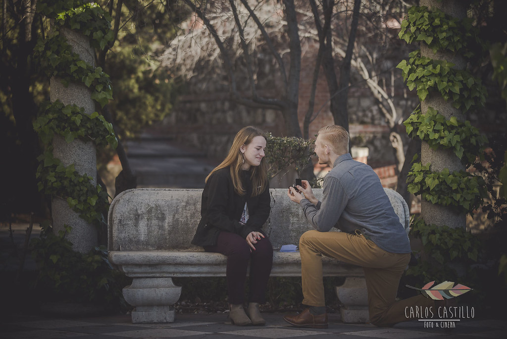 Romantic engagement in Madrid