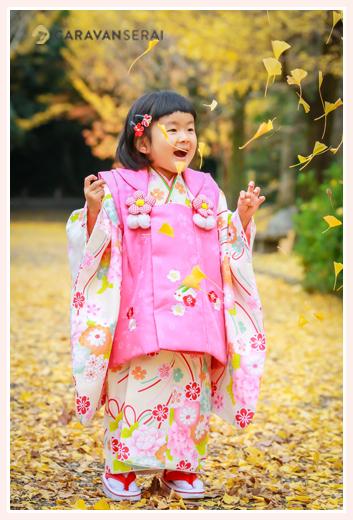出張カメラマンが撮る七五三参り 熱田神宮(愛知県名古屋市) 銀杏や紅葉など秋の風景を背景に 3才の女の子はお着物で!