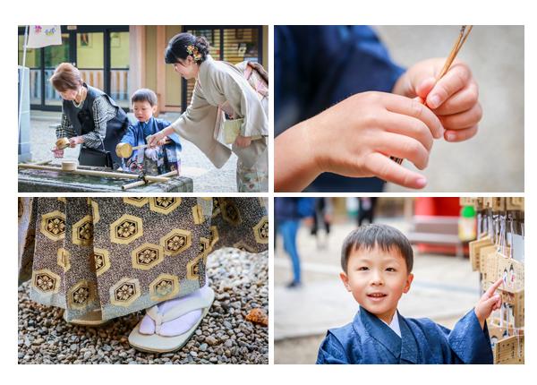 六所神社(愛知県岡崎市)で七五三写真の出張撮影 5才の男の子の和装(羽織袴)の自然な姿をロケーション撮影