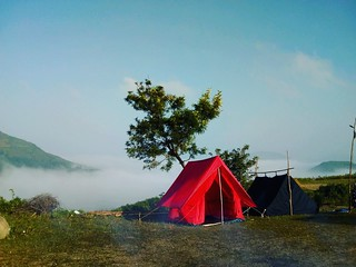 Misty weather while camping in Araku