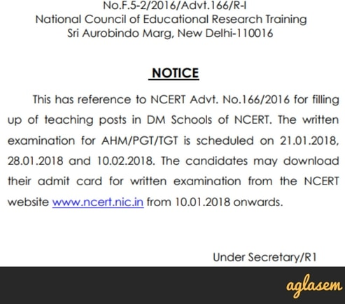NCERT Admit Card 2018 for AHM, PGT, TGT – Admit Card Released!