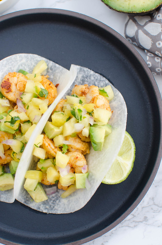 Chipotle Shrimp Jicama Tacos with Pineapple Salsa - low carb shrimp tacos that will get rid of any shrimp taco craving! Only 8 calories in the jicama tortilla!