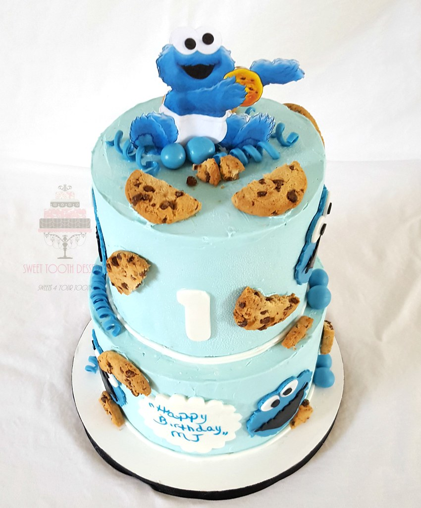Cookie Monster 1st Birthday | 2 Tier (6in and 8in) Cookie ...