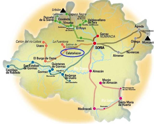 Mapa de situación de Calatañazor en Soria